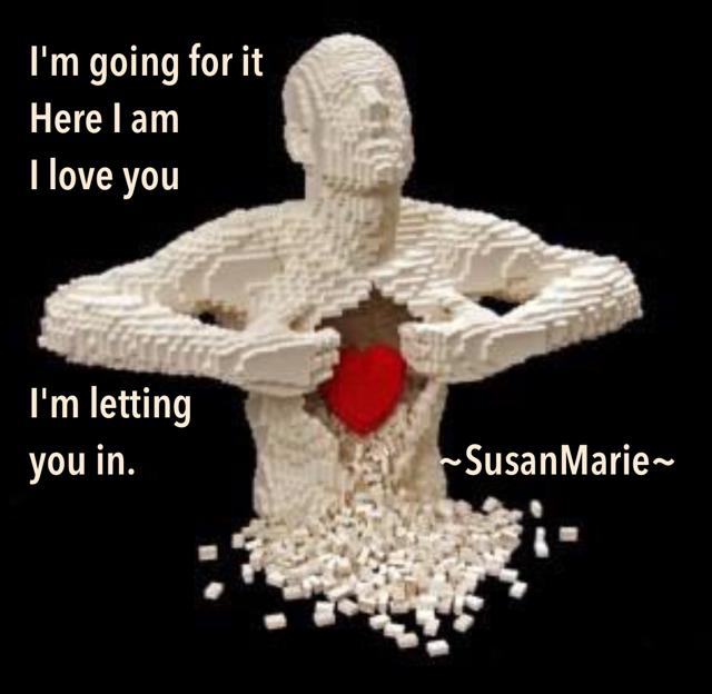 I'm going for it Here I am I love you I'm letting  you in.                                     ~SusanMarie~