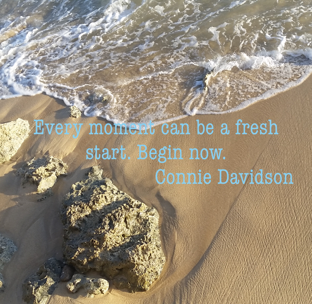 Every moment can be a fresh start. Begin now.                           Connie Davidson