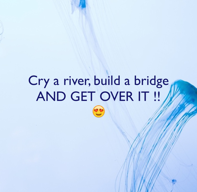 Cry a river, build a bridge AND GET OVER IT !! 😍