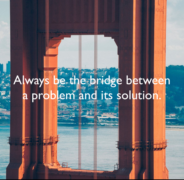 Always be the bridge between a problem and its solution.