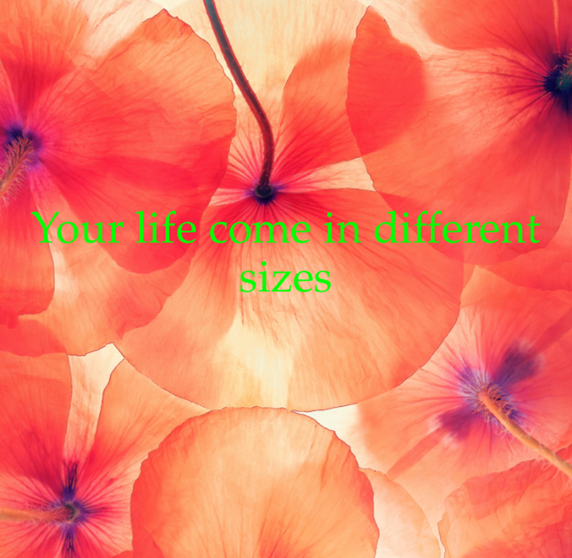 Your life come in different sizes