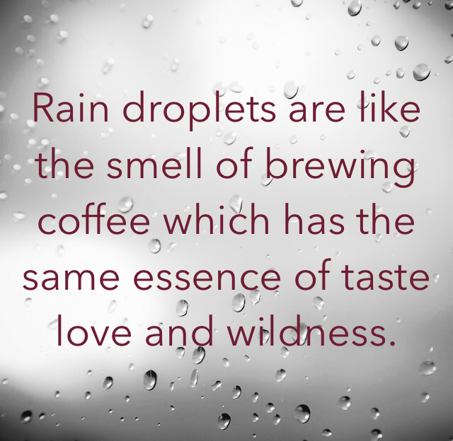 Rain droplets are like the smell of brewing coffee which has the same essence of taste love and wildness.