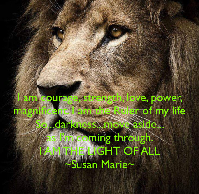 I am courage, strength, love, power, magnificent. I am the Ruler of my life So...darkness...move aside...  as I'm coming through.  I AM THE LIGHT OF ALL ~Susan Marie~