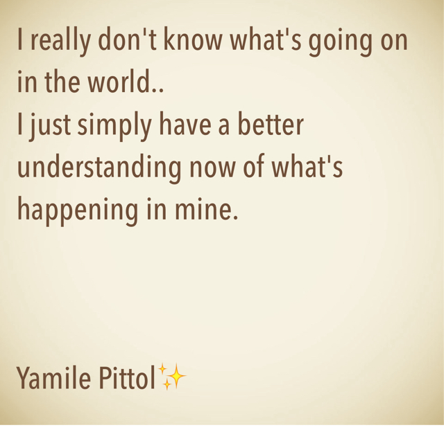 I really don't know what's going on in the world..  I just simply have a better understanding now of what's happening in mine.  Yamile Pittol✨