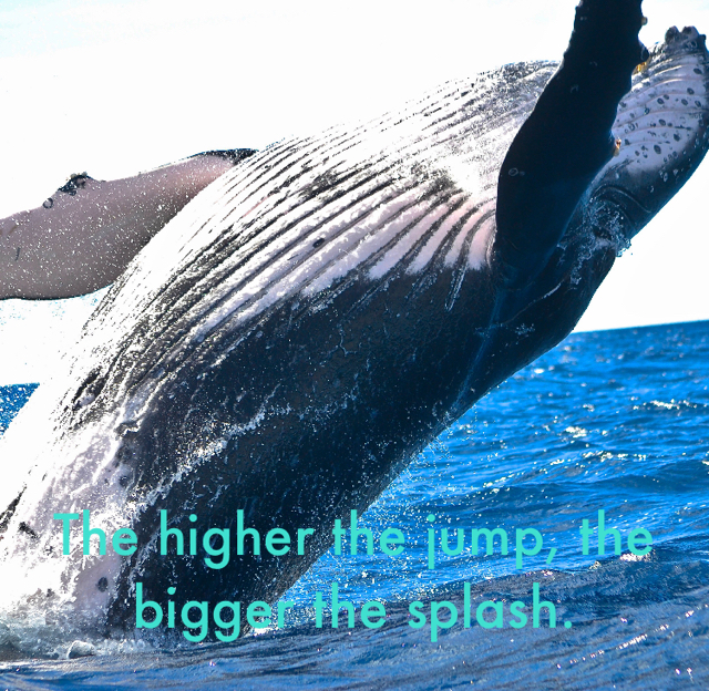 The higher the jump, the bigger the splash.