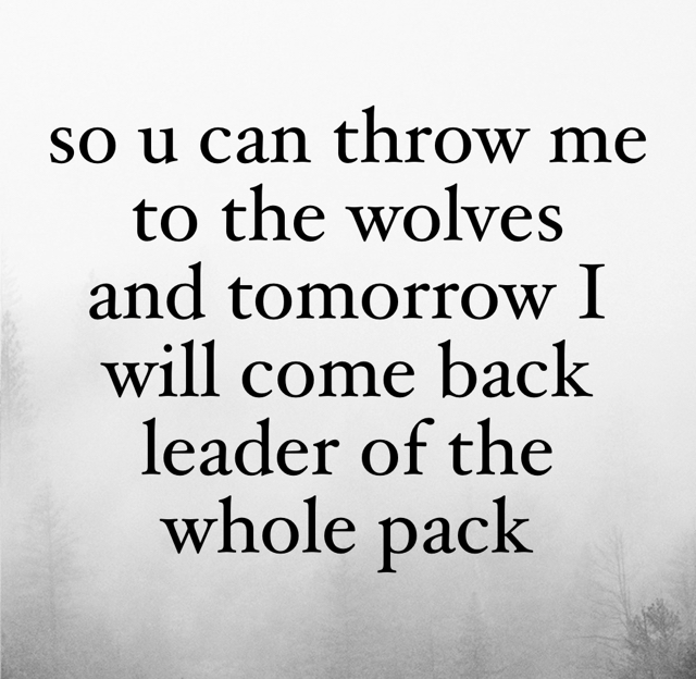 so u can throw me to the wolves and tomorrow I will come back leader of the whole pack
