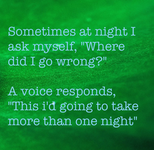 "Sometimes at night I ask myself, ""Where did I go wrong?""  A voice responds, ""This i'd going to take more than one night"""