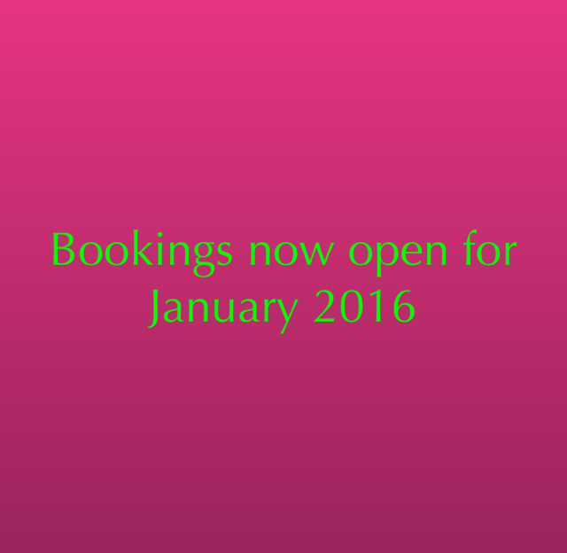 Bookings now open for January 2016