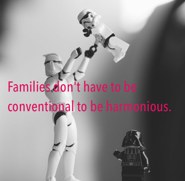 Families don't have to be conventional to be harmonious.