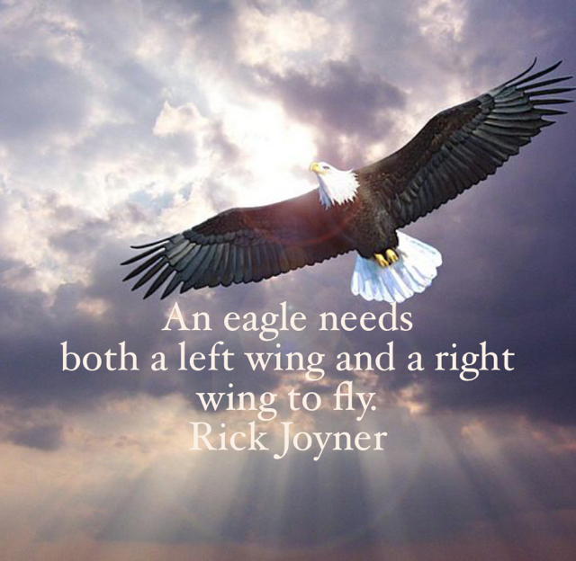 An eagle needs  both a left wing and a right wing to fly. Rick Joyner