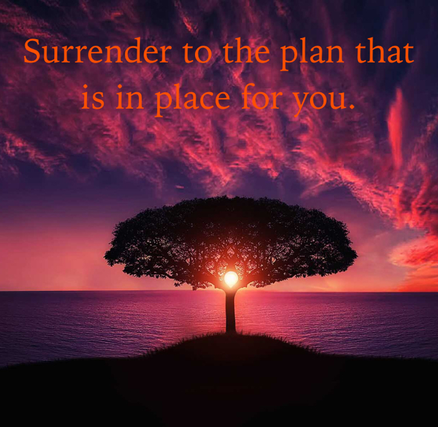 Surrender to the plan that is in place for you.