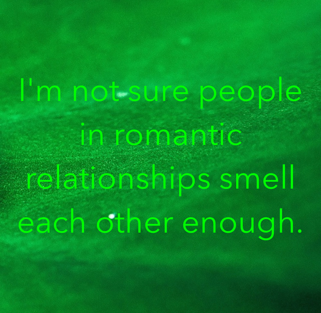 I'm not sure people in romantic relationships smell each other enough.