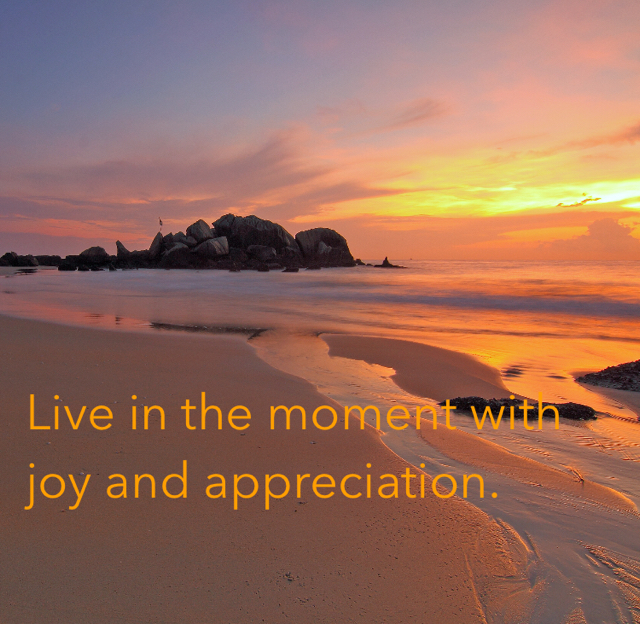 Live in the moment with joy and appreciation.