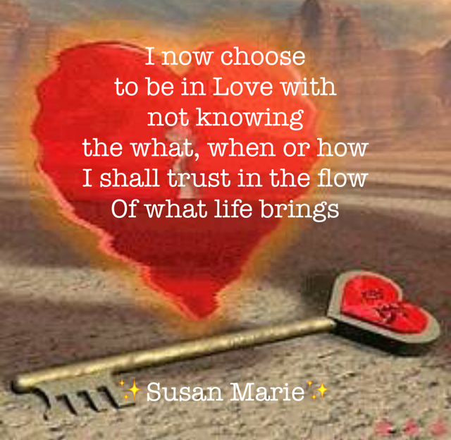 I now choose  to be in Love with not knowing  the what, when or how I shall trust in the flow Of what life brings ✨Susan Marie✨