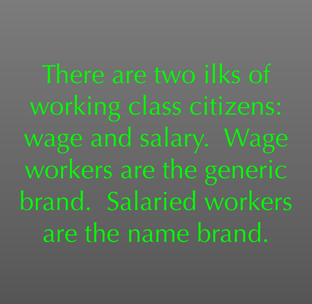 There are two ilks of working class citizens: wage and salary.  Wage workers are the generic brand.  Salaried workers are the name brand.
