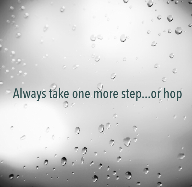Always take one more step...or hop