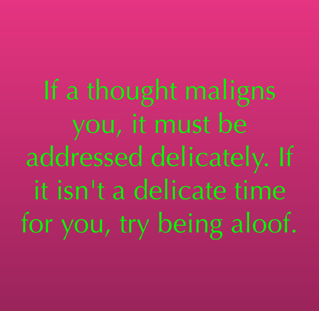 If a thought maligns you, it must be addressed delicately. If it isn't a delicate time for you, try being aloof.