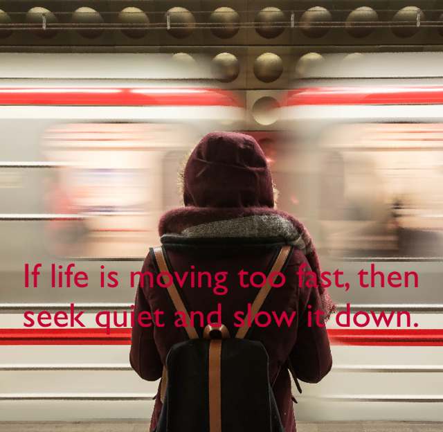 If life is moving too fast, then seek quiet and slow it down.