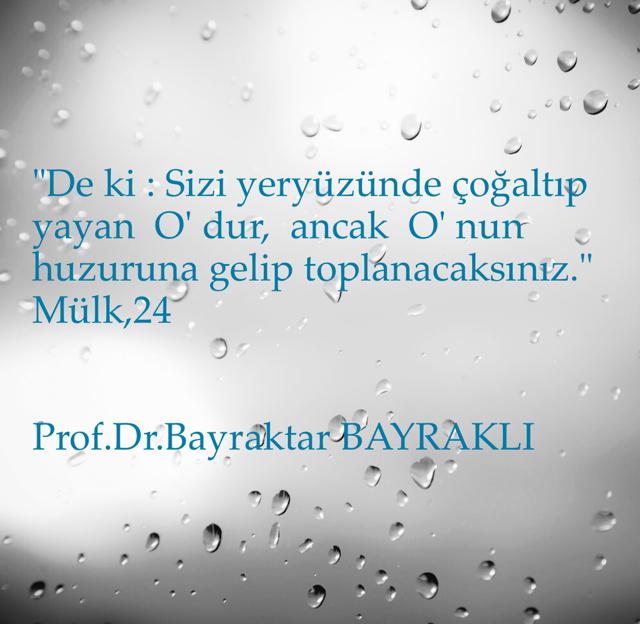 """""""De ki : Sizi yeryüzünde çoğaltıp yayan  O' dur,  ancak  O' nun huzuruna gelip toplanacaksınız."""" Mülk,24 Prof.Dr.Bayraktar BAYRAKLI"""