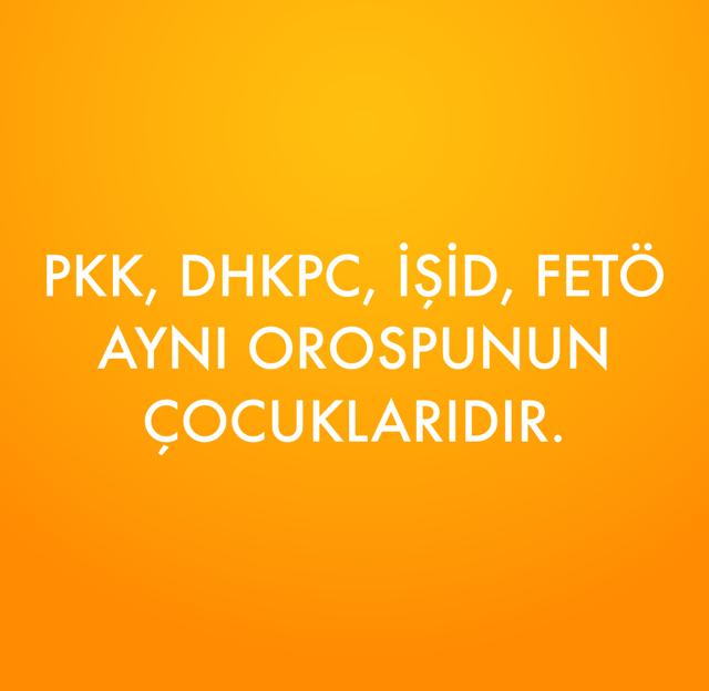 PKK, DHKPC, İŞİD, FETÖ  AYNI OROSPUNUN ÇOCUKLARIDIR.