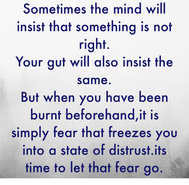 Sometimes the mind will insist that something is not right. Your gut will also insist the same. But when you have been burnt beforehand,it is simply fear that freezes you into a state of distrust.its time to let that fear go.