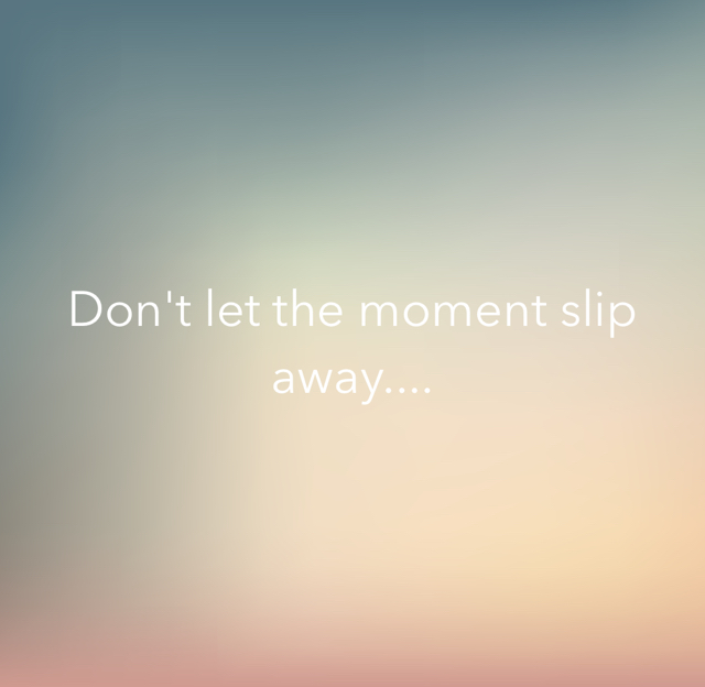 Don't let the moment slip away....
