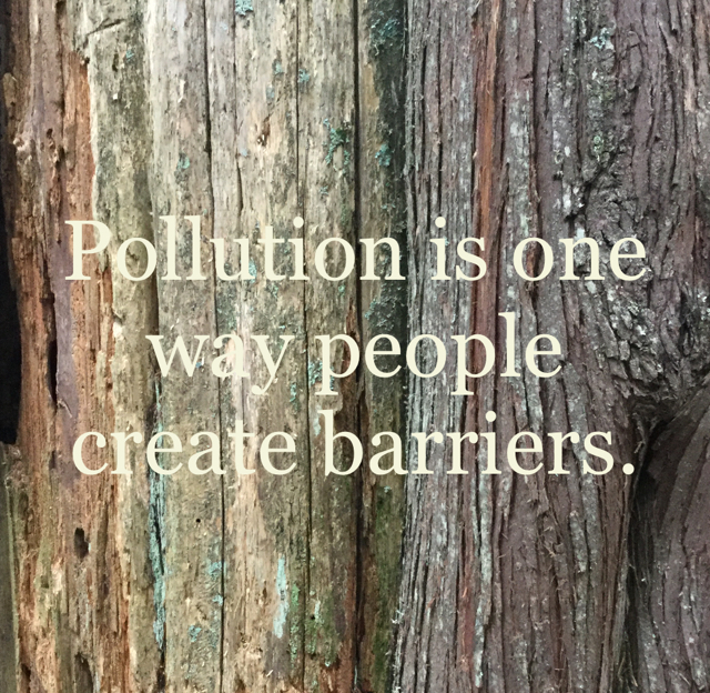 Pollution is one way people create barriers.