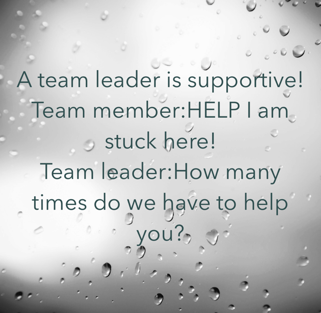 A team leader is supportive! Team member:HELP I am stuck here! Team leader:How many times do we have to help you?