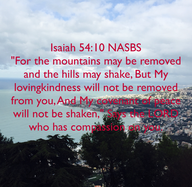 """Isaiah 54:10 NASBS """"For the mountains may be removed and the hills may shake, But My lovingkindness will not be removed from you, And My covenant of peace will not be shaken,"""" Says the LORD who has compassion on you."""