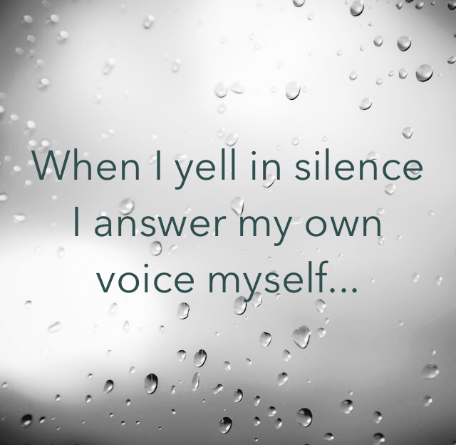 When I yell in silence I answer my own voice myself...