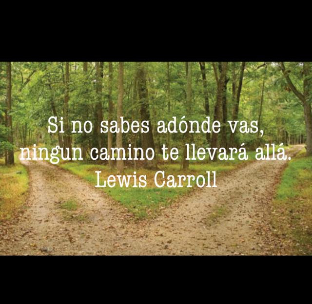 Si no sabes adónde vas, ningun camino te llevará allá. Lewis Carroll