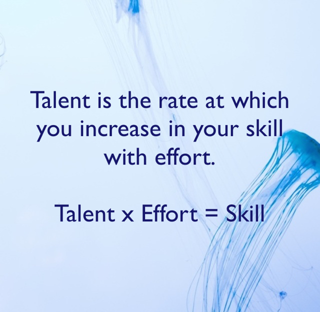 Talent is the rate at which you increase in your skill with effort. Talent x Effort = Skill