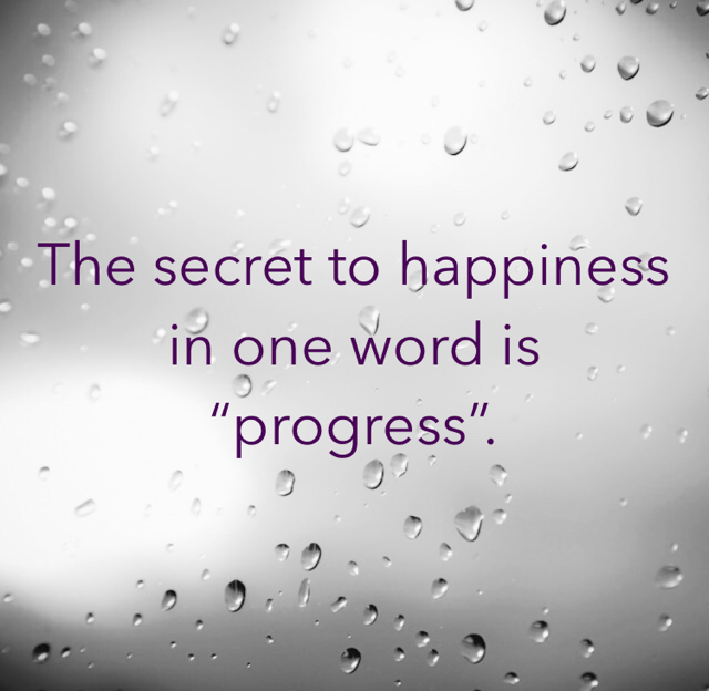 "The secret to happiness in one word is ""progress""."