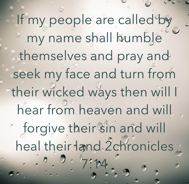 If my people are called by my name shall humble themselves and pray and seek my face and turn from their wicked ways then will I hear from heaven and will forgive their sin and will heal their land 2chronicles 7:14