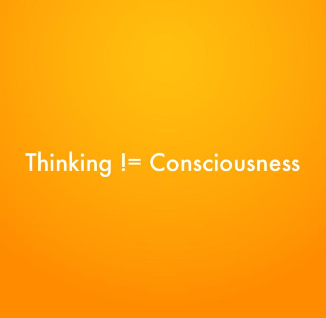 Thinking != Consciousness