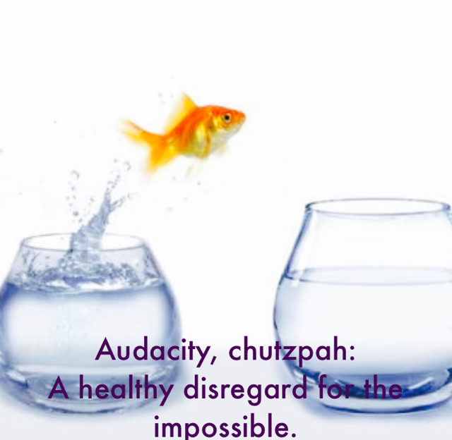 Audacity, chutzpah: A healthy disregard for the impossible.