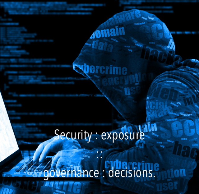 Security : exposure  ::  governance : decisions.