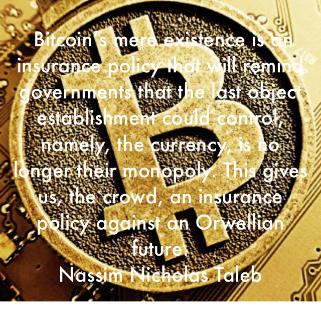 Bitcoin's mere existence is an insurance policy that will remind governments that the last object establishment could control, namely, the currency, is no longer their monopoly. This gives us, the crowd, an insurance policy against an Orwellian future. Nassim Nicholas Taleb