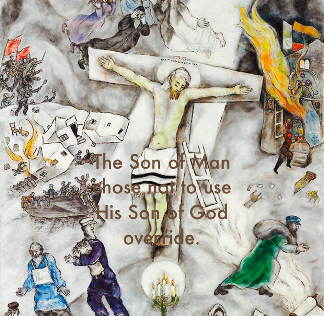 The Son of Man chose not to use  His Son of God  override.