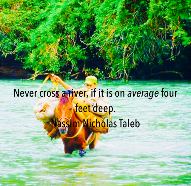 Never cross a river, if it is on average four feet deep. Nassim Nicholas Taleb