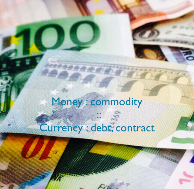Money : commodity  ::  Currency : debt, contract