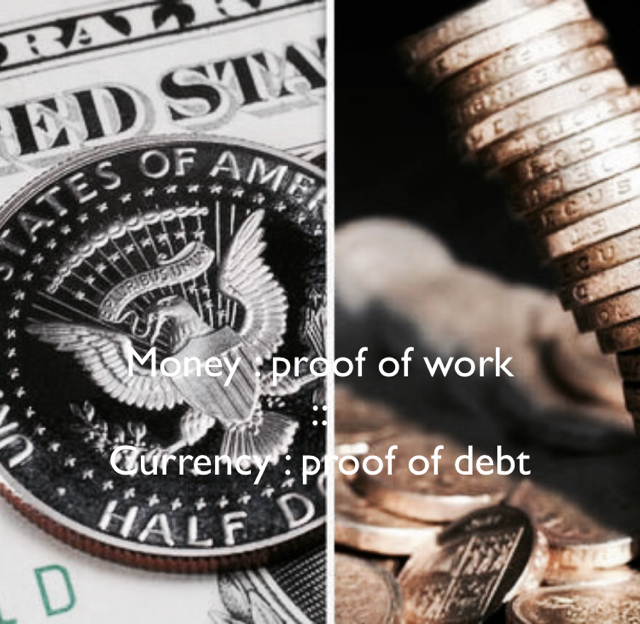 Money : proof of work :: Currency : proof of debt
