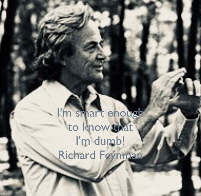 I'm smart enough  to know that  I'm dumb! Richard Feynman