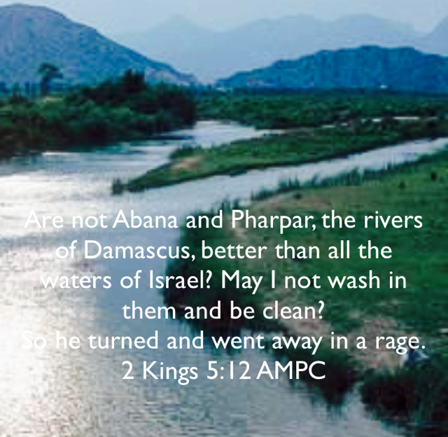 Are not Abana and Pharpar, the rivers of Damascus, better than all the waters of Israel? May I not wash in them and be clean?  So he turned and went away in a rage. 2 Kings 5:12 AMPC