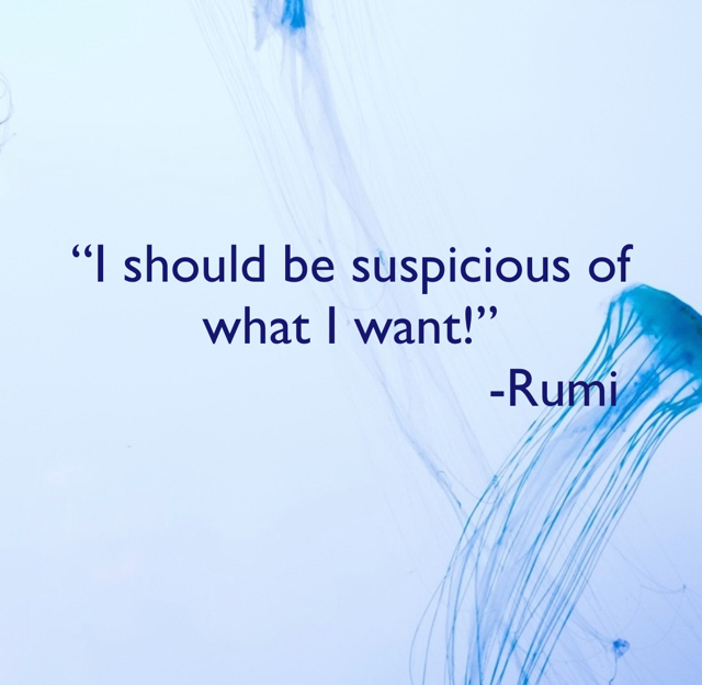 """I should be suspicious of what I want!""                            -Rumi"