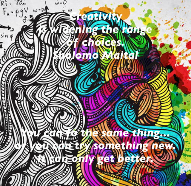 Creativity  is widening the range  of choices. Sholomo Maital You can fo the same thing... or you can try something new. It can only get better.