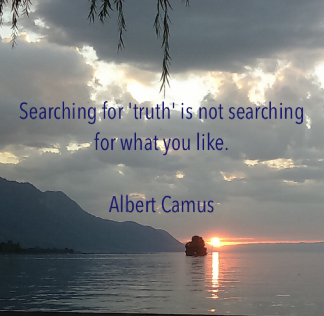 Searching for 'truth' is not searching for what you like. Albert Camus