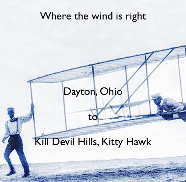 Where the wind is right Dayton, Ohio to Kill Devil Hills, Kitty Hawk