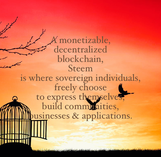 A monetizable,  decentralized  blockchain,   Steem  is where sovereign individuals,  freely choose  to express themselves,  build communities,  businesses & applications.