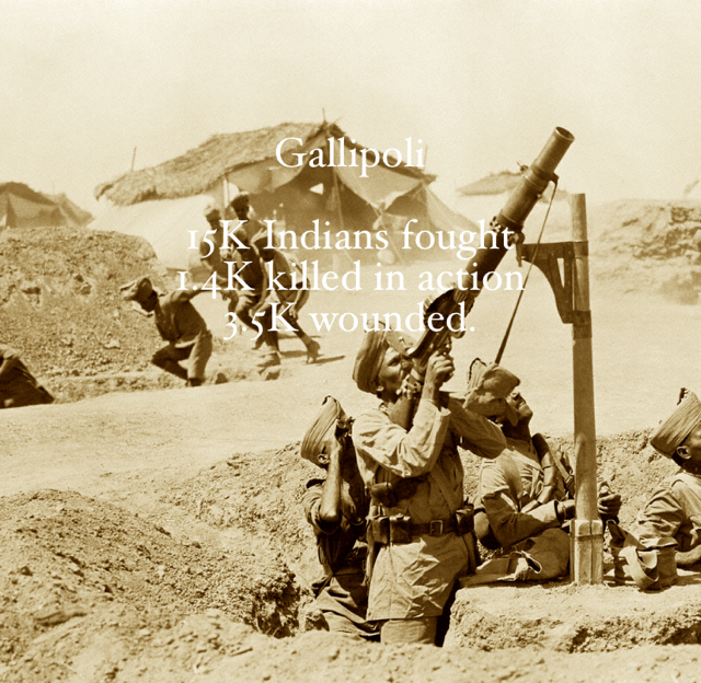 Gallipoli 15K Indians fought 1.4K killed in action 3.5K wounded.